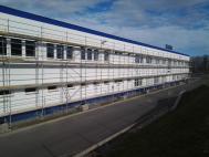 Oprava fasády tovární haly